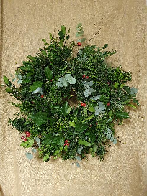 VISAD ŽALIA kalėdinis vainikas, 40 cm skersmens