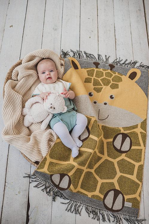 """HEBE merino vilnos pledukai kūdikiams ir vaikams """"Žirafėlė"""""""