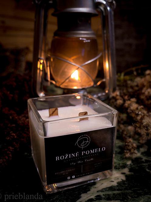 PRIEBLANDA  sojų vaško žvakė stikliniame indelyje (su traškančiu duetu)
