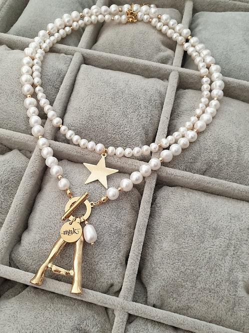 MNK handmade jewelry gėlavandenių perlų vėrinių rinkinys