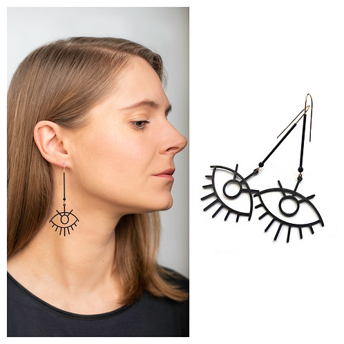 MIELA auskarai akys iš oksiduoto žalvario su špineliu