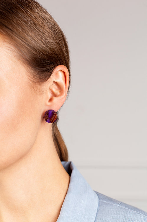 "MALKO jewellery auskarai ""AMETHYST PURPLE CIRCLE"""