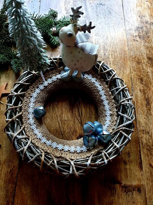 INDRĖS IDĖJOS rankų darbo Kalėdinis vainikas su briedžiuku