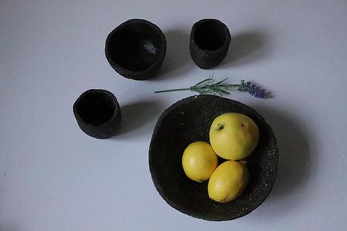 ANOSSTUDIO rankų darbo keramikos juodojo žėručio rinkinys