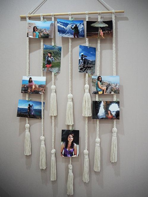 """MACRAME BY NUOGNE """"Macrame"""" sienos dekoracija-nuotraukų rėmas darbo širma"""