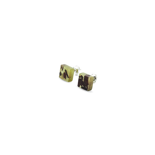 """MALKO jewellery auskarai """"QUADRATIC OLIVE GREEN"""""""