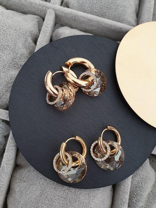 MNK handmade jewelry auskarai su Swarovski kristalais ir cirkonio žiedeliais