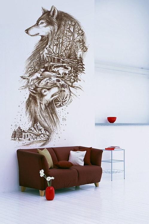 """HOUSE OF LLAMAS piešinys ant sienos """"Vilkai"""""""