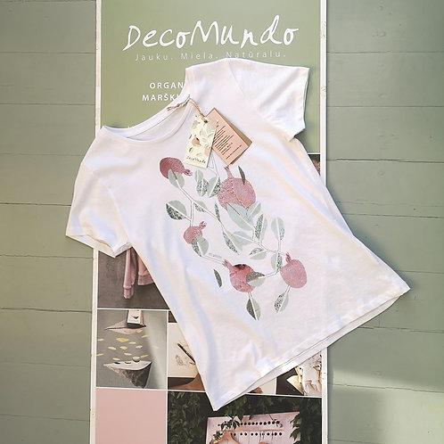 """DecoMundo balti moteriški organinės medvilnės marškinėliai """"GRANATMEDIS"""""""