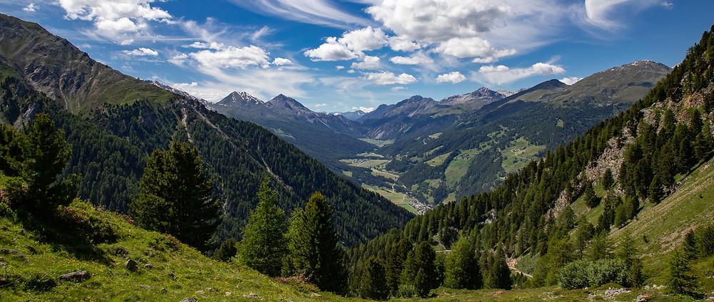 Blick ab der Alp Prasüra Richtung Ofenpass