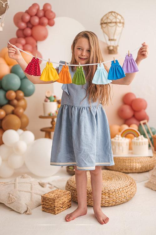 """NICE VIBES lėlės suknelės """"Vaivorykštės spalvos"""""""