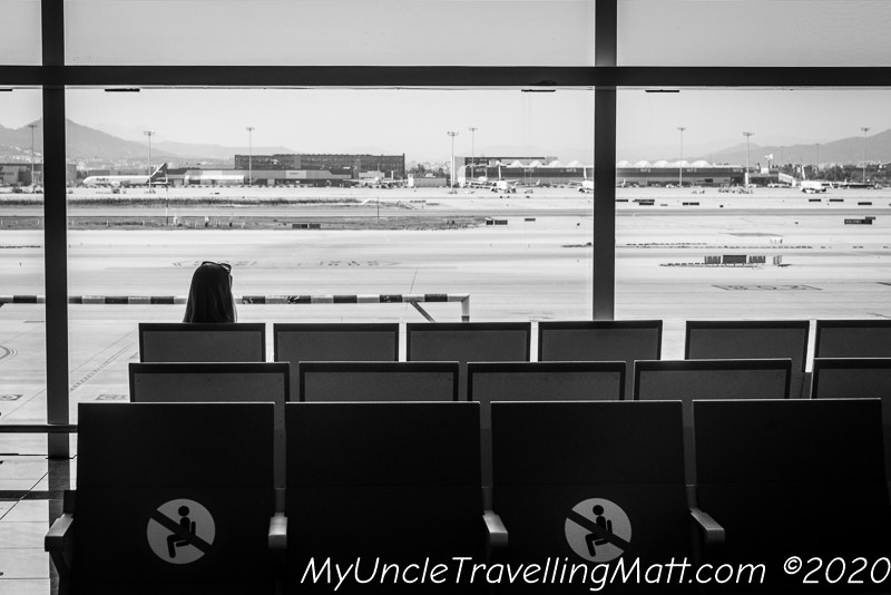 Barcelona airport b&w