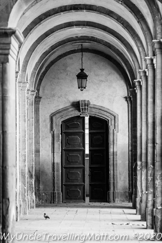 black and white halls architecture
