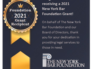 The New York Bar Foundation presents grant to NSLS to support our Covid-19 Tenant Legal Project