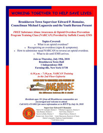 Town of Brookhaven and Suffolk County EMS will be hosting a Substance Abuse Awareness and Opioid Ove