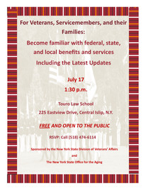 Forum for Veterans, Servicemembers and their families at Touro Law School - July 17, 2018