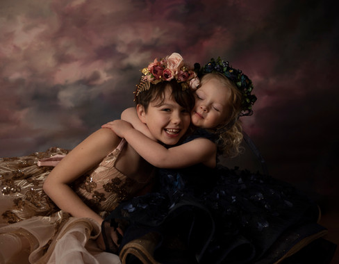 sisters couture gowns floral crowns