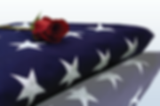 Folded American flag and rose