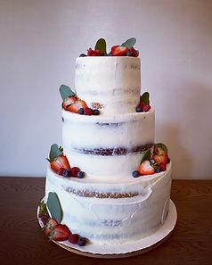 Simple naked style wedding cake
