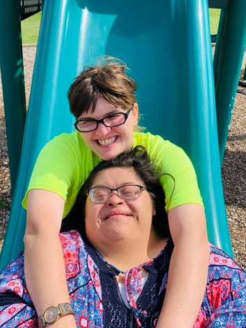 Heather and Summer on the slide