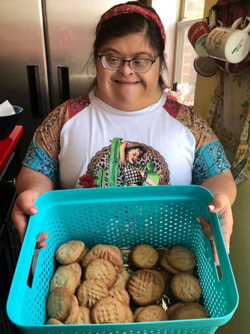 Heather with her homemade peanut butter cookies