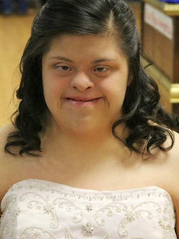 Heather in a white formal dress