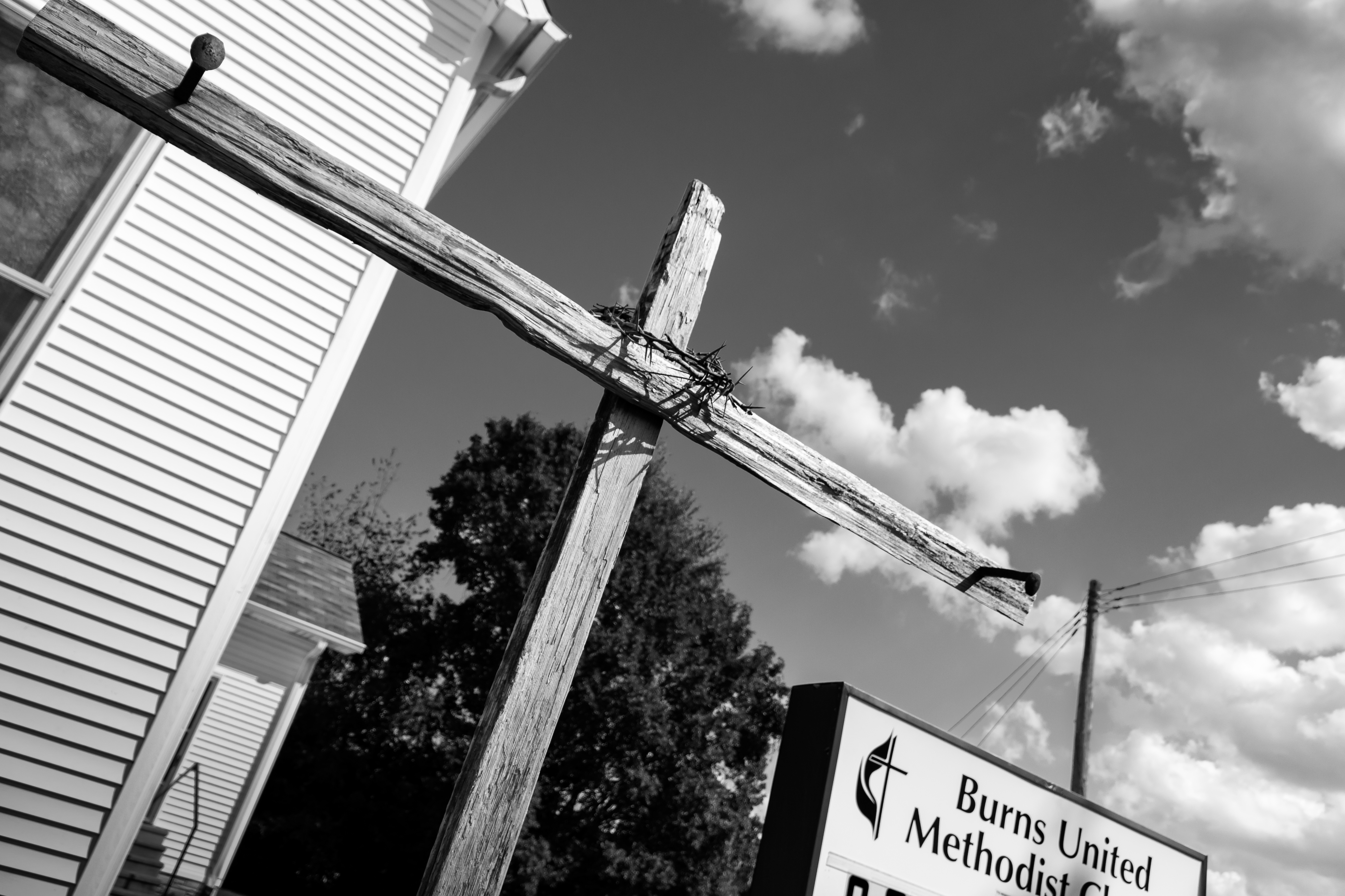 Cross by front entrance
