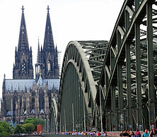 people-walling-on-cologne-bridge-near-co