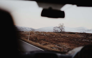 View From Within A Vehicle At Desolate Scenery