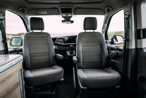 Dark Grey Seats in a VW California Ocean facing inwards