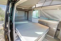 Double Bed Inside a VW California Campervan