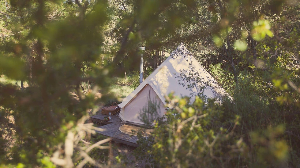 Bell Tent With A Closer Door In The Woods