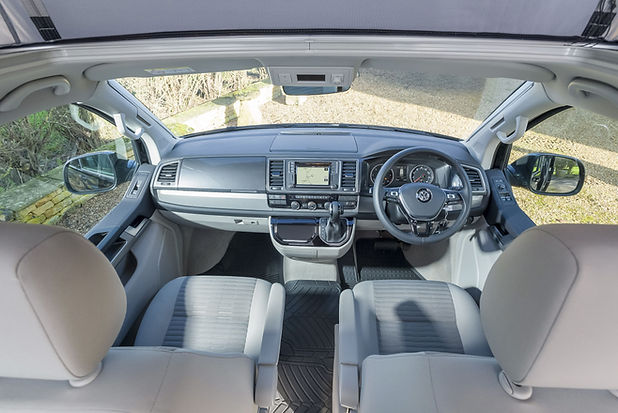 Inside The Driving Area of a VW Camper California with Grey Interior