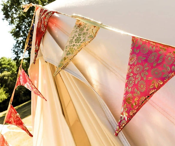 Red and Gold Bunting On Bell Tent