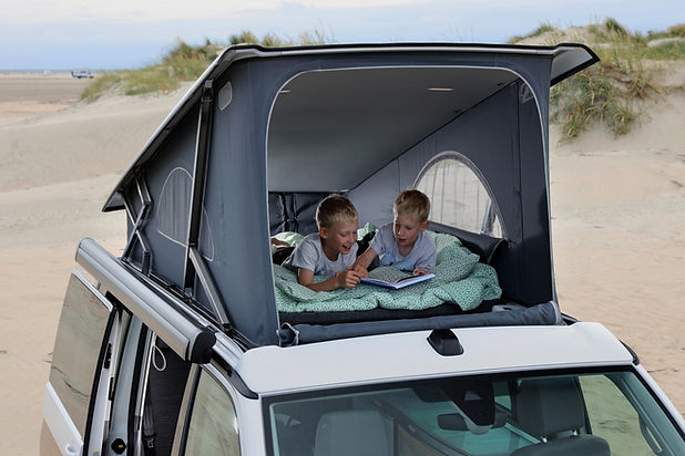 Two Young Twins Reading Books In The Top of a VW California Ocean 6.1
