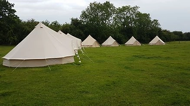 White bell tents on a green field with trees in the background