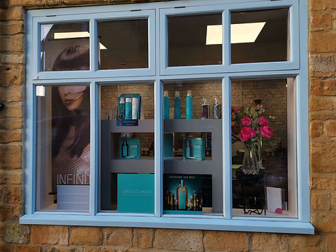 Wisteria Hair Window Front Showing MoroccanOil Products