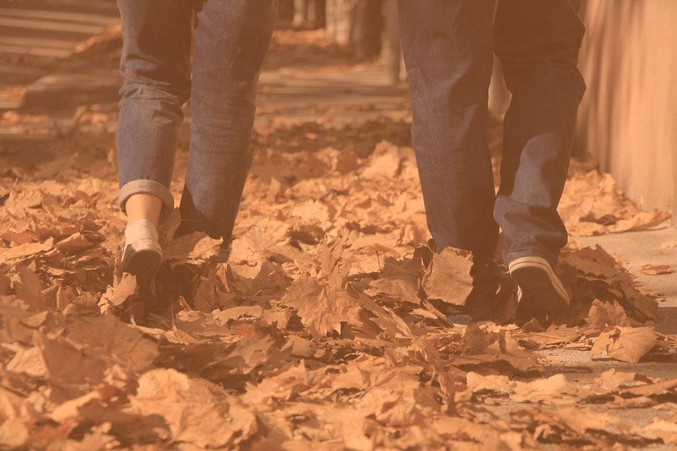 Couple walking through autumnal orange leaves
