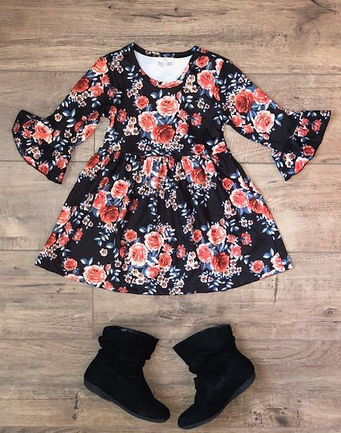 Midnight Floral Bell Sleeve Dress