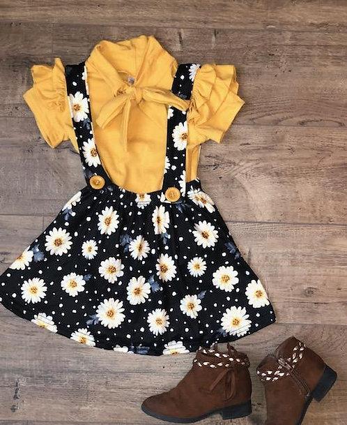 Mustard Daisy Suspender Skirt Set