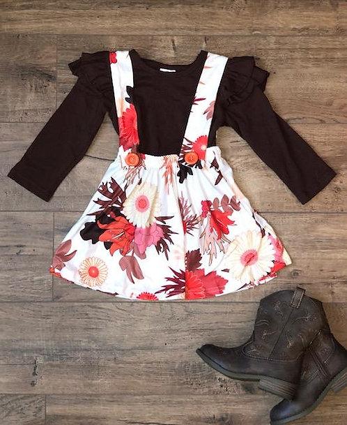 Brown Autumn Suspender Skirt Set
