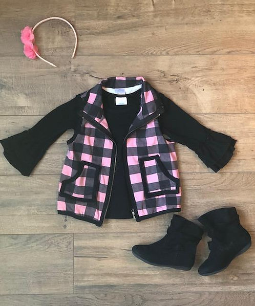 2 Piece Pink Plaid Vest Set