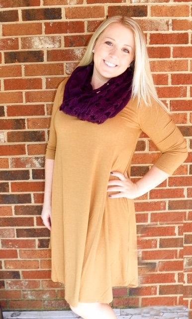 3/4 Sleeve Pocket Dress