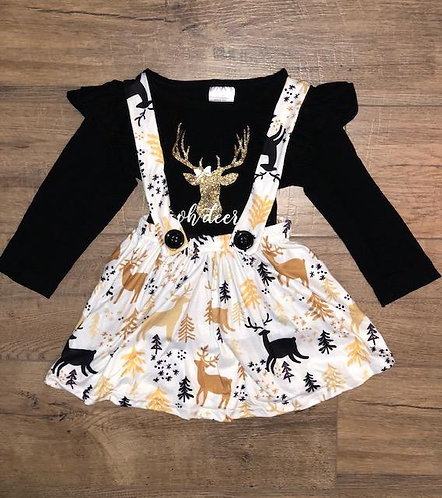 Oh Deer Suspender Skirt Set