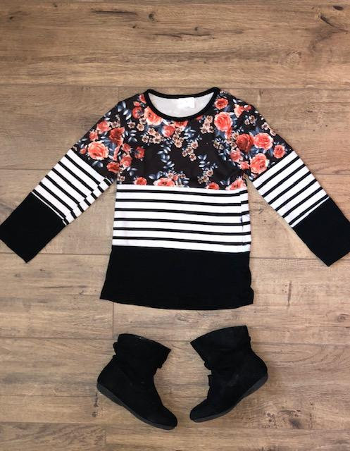Mom & Me Midnight Floral Stripe Top