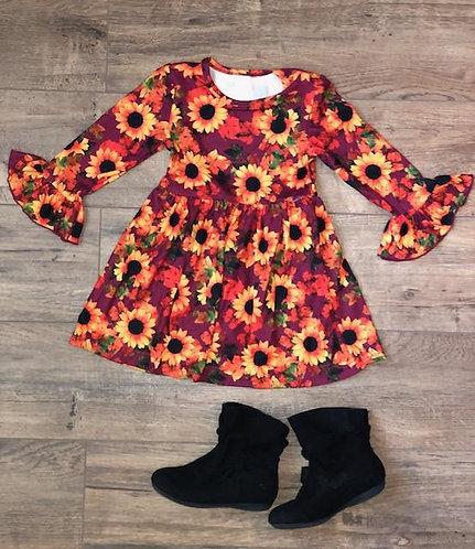 Fall Sunflower Bell Sleeve Dress