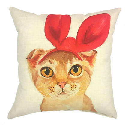 Red Ribbon Cat Cushion Cover