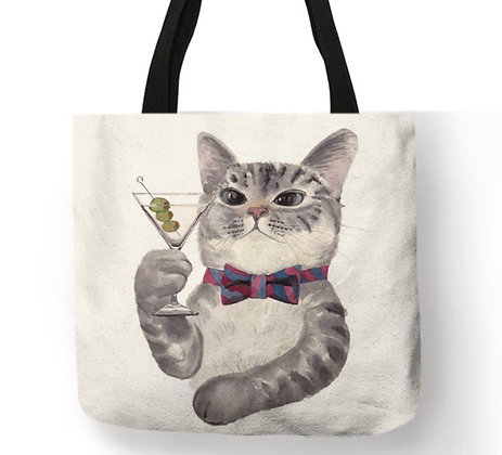 Wine Cat Tote Bag
