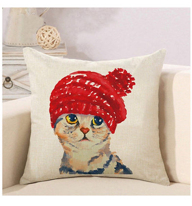 Red Hat Cat Cushion Cover