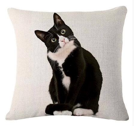 Black Tuxedo Cat Cushion Cover
